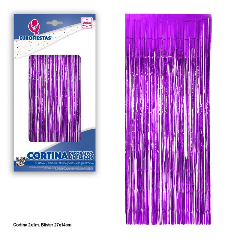 cortina decorativa flecos purpura