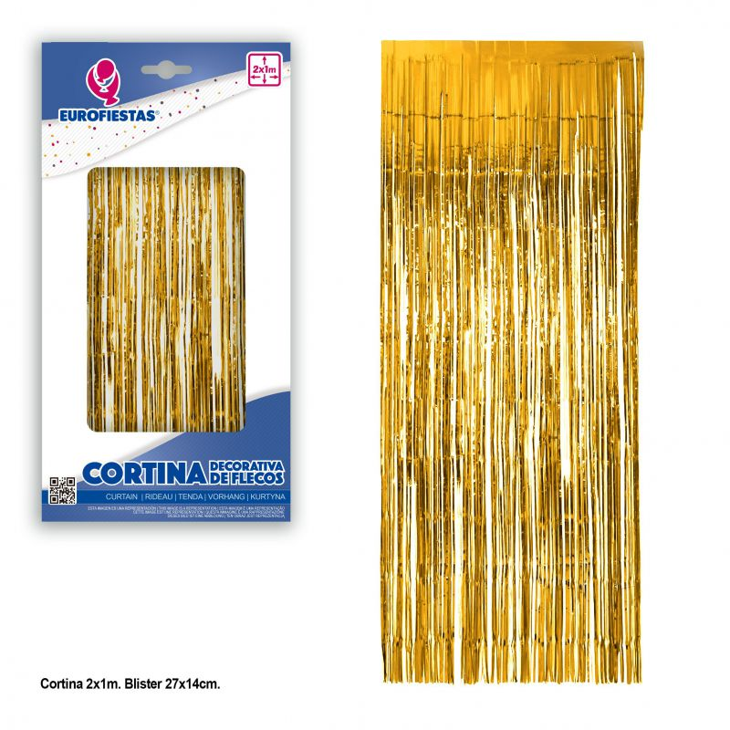 cortina decorativa flecos oro