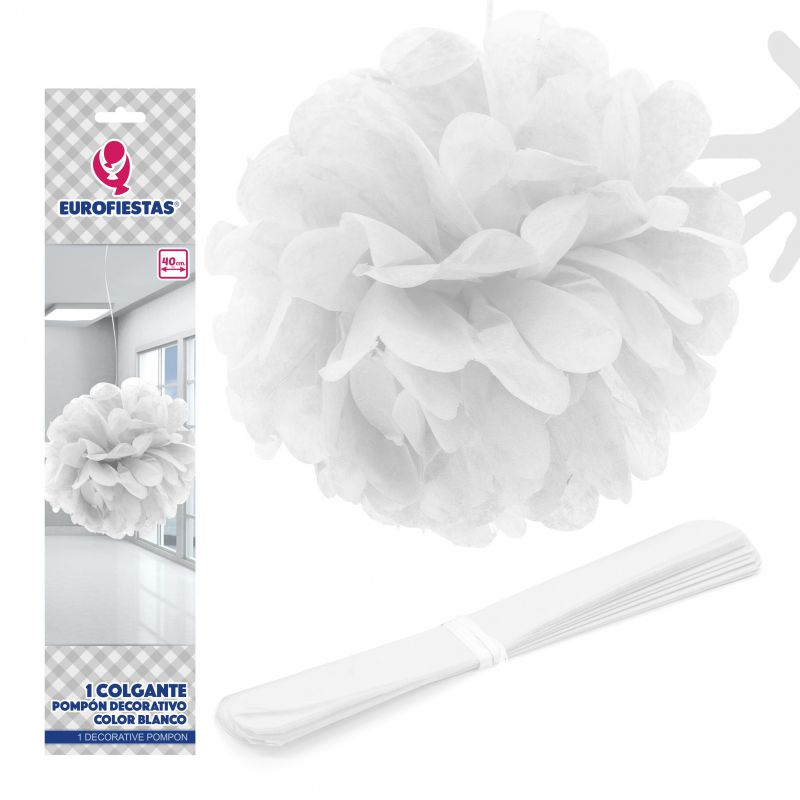 GOLGANTE POMPON 1U.40CM color BLANCO