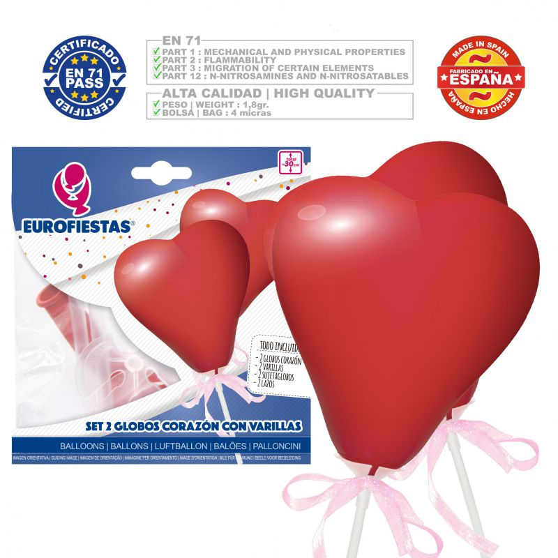 globos corazon mini rojo*2