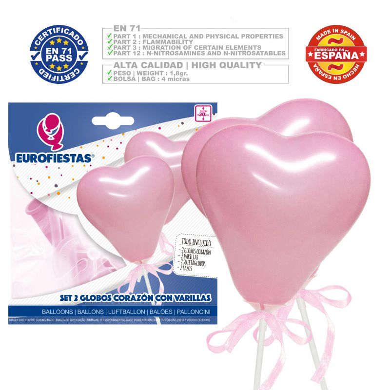 globos corazon mini rosa*2