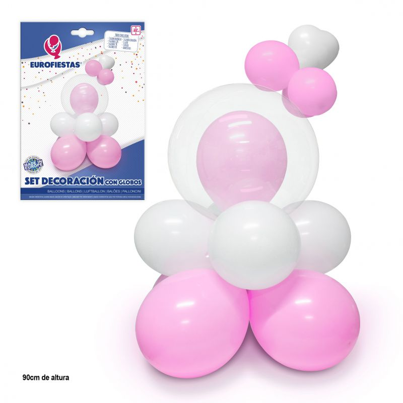 SET DECORACION ROSA CON GLOBOS