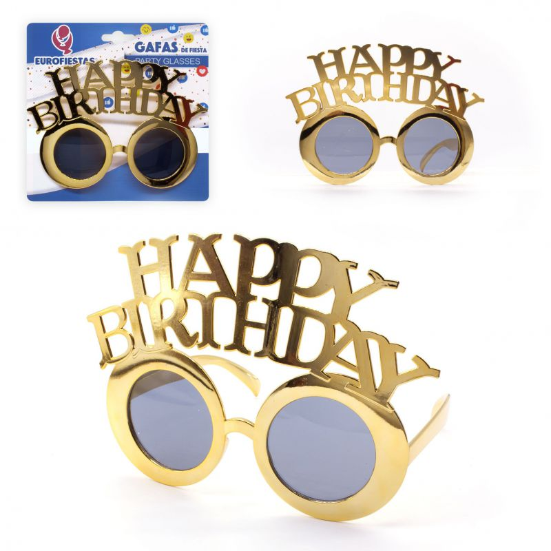 gafas happy birthday oro