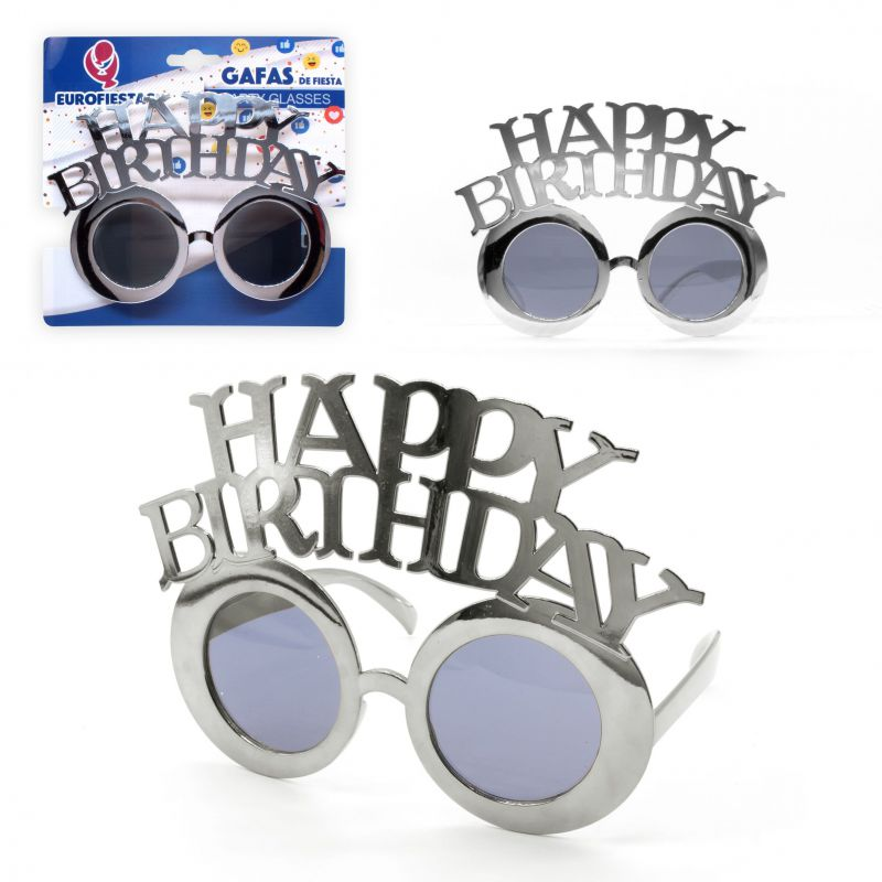 gafas happy birthday plata