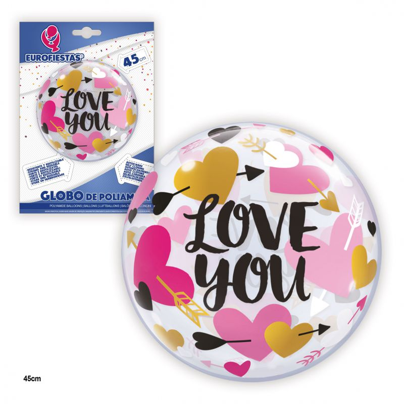 GLOBO TRANSPARENTE LOVE YOU 45cm