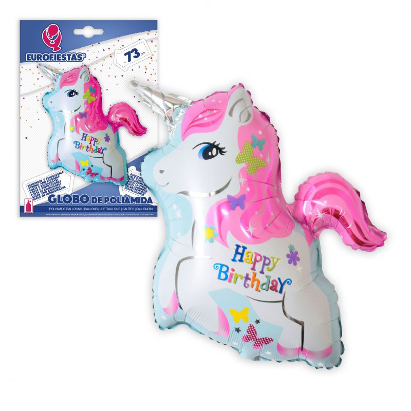 GLOBO POLIAMIDA UNICORNIO HAPPY BIRTHDAY 73cm